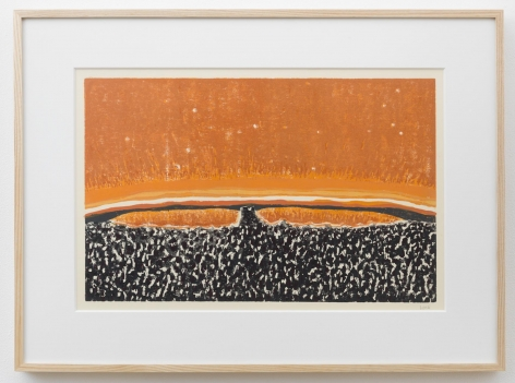 , WILLIAM MONK Untitled II (Fulcrum), 2014 Woodcut on paper 16 1/2 x 24 3/8 in. (42 x 62 cm)
