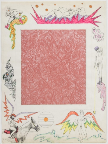 , ROBERT SMITHSON,Untitled [Pink linoleum center], 1964, Collage and color pencil on paper, 30 x 22 in.