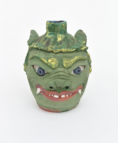 , Green Guardian, 2008, Earthenware and colored slips and glazes, 16 1/2 x 13 x 13 1/2 in.