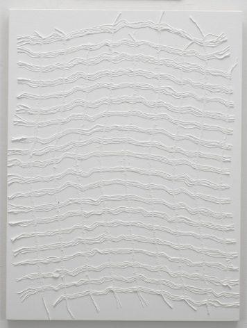 , MICHELLE GRABNER, Untitled, 2014, Burlap and gesso on panel, 32 x 24 in.