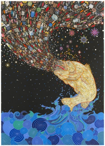 , FRED TOMASELLI Gyre, 2014 Photo-collage, leaves, acrylic, and resin on wood panel