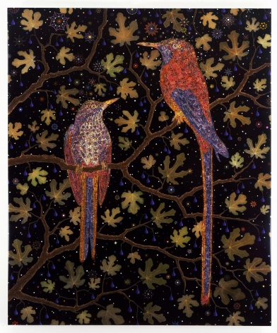 , FRED TOMASELLI, After Migrant Fruit Thugs, 2008, Wool background, silk birds with metallic thread detail, 98 x 64 inches (248.9 x 162.6 cm)