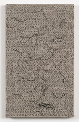 , HELENE APPEL Black Thread Stitches, 2013 Acrylic on linen