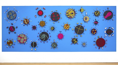 , YINKA SHONIBARE, MBE, New York Toy Painting, 2012, Emulsion, acrylic on Dutch wax fabric, 27 panels 98 3/8 x 244 1/8 x 6 1/4 in. (250 x 620 x 16 cm)