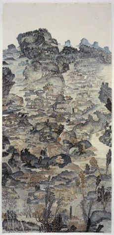 YUN-FEI JI Below the 143 Meter Watermark, 2006.  Mineral pigments and ink on mulberry paper, 118 1/2 X 56 1/8 inches.