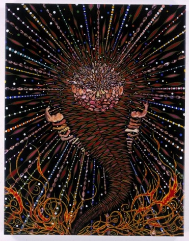 FRED TOMASELLI, Destroyer, 2003, mixed media, acrylic paint, resin on wood, 28 x 22 x 1 1/2 inches
