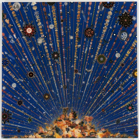 , FRED TOMASELLI Car Bomb, 2008 Photocollage, acrylic, resin on wood panel 60 x 60 in. (152.4 x 152.4 cm)