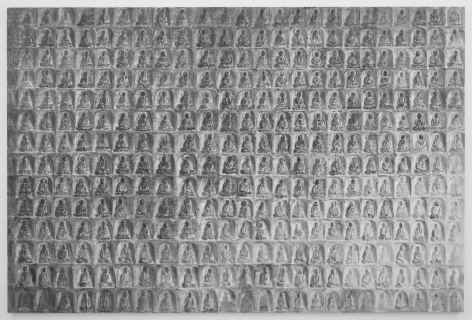 , SHI ZHIYINGRock Carving of Thousand Buddhas,2013Oil on canvas94 3/16 x 70 5/16 in. (240 x 180 cm)