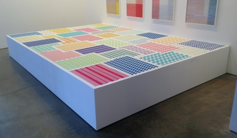 , MICHELLE GRABNER Untitled, 2014 Paper weavings, pedestal 20 x 156 x 108 in. (50.8 x 396.2 x 274.3 cm)