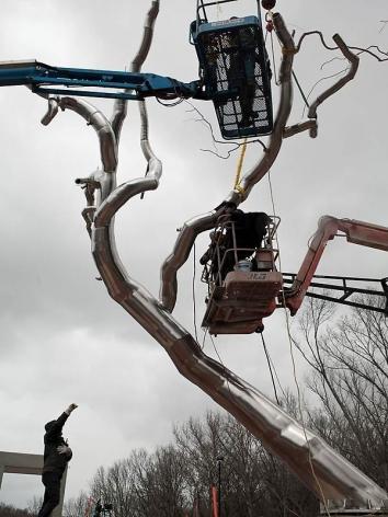 , ROXY PAINE Installation ofYield, 2011 Crystal Bridges Museum of American Art, Bentonville, AR Photo: Sheila Griffin