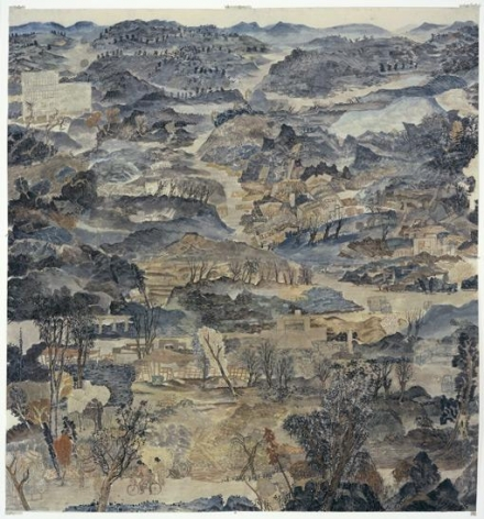 YUN-FEI JI Last Days Before The Flood, 2006.  Mineral pigments and ink on mulberry paper, 75 1/2 X 70 inches.