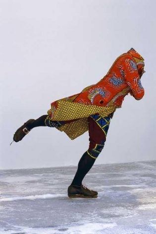 YINKA SHONIBARE, Reverend on Ice, 2005. Life-size fiberglass mannequin, Dutch wax-printed cotton, steel