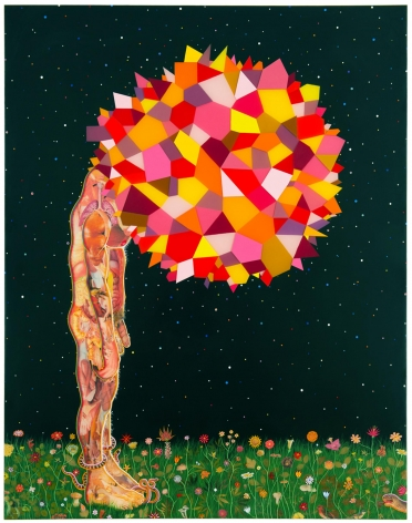 , FRED TOMASELLI Head 2013 Mixed media and resin on wood panel 90 x 66 in. (228.6 x 167.6 cm)