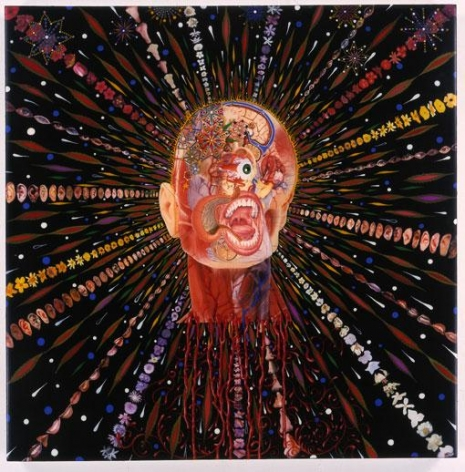 FRED TOMASELLI, Cyclopticon 2, 2003, mixed media, acrylic paint, resin on wood, 24 x 24 x 1 1/2 inches