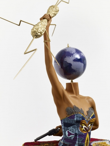 , YINKA SHONIBARE, MBE Ballet God (Zeus) (detail), 2015 Fibreglass mannequin, Dutch wax printed cotton textile, lightning, gun, globe, pointe shoes and steel baseplate 92 7/8 x 61 x 55 1/16 in. (236 x 155 x 140 cm)