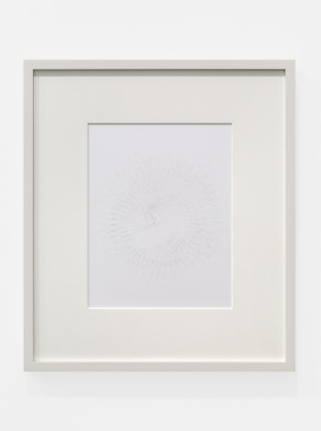 Cheyney ThompsonAggregateDeadThing (RedBlueYellow)(30000steps(view2)): gold, 2016Silverpoint on clay-coated paper image size: 9 1/4 x 7 1/4 in (23.5 x 18.4 cm); frame: 15 3/4 x 13 3/4 x 3/4 in (40 x 34.9 x 1.9 cm)