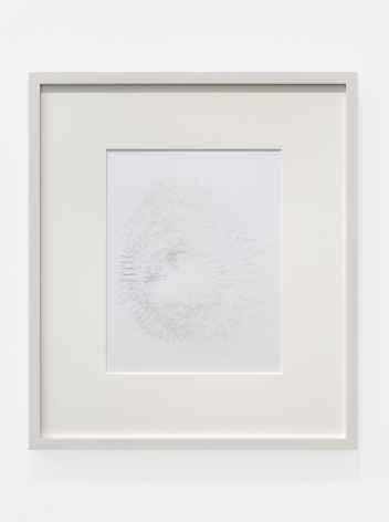 Cheyney ThompsonAggregateDeadThing (RedBlueYellow)(30000steps(view1)): silver, 2016Silverpoint on clay-coated paper image size: 9 1/4 x 7 1/4 in (23.5 x 18.4 cm); frame: 15 3/4 x 13 3/4 x 3/4 in (40 x 34.9 x 1.9 cm)