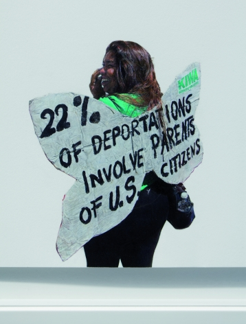 Andrea Bowers 22% of Deportations Involve Parents of U.S. Citizens (Immigrant Justice Activist, May Day 2014, Los Angeles), 2014 (detail)