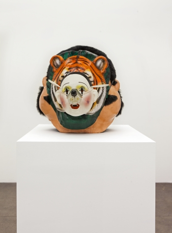 Jamie IsensteinOnions (Mario to Clown Mouse), 2015Synthetic hair, paper mache, acrylic paint, mesh, plastic, ribbon, ceramic, string and rubber16 x 20 x 16 in (40.6 x 50.8 x 40.6 cm)