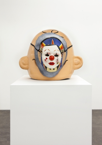Jamie IsensteinOnions (Charlie Brown to Clown Clown), 2015Paper mache, acrylic paint, rope, ribbon, string and plastic17 x 17 x 20 in (43.2 x 43.2 x 50.8 cm)