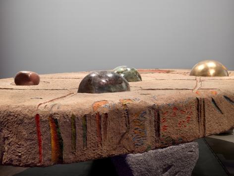 Detail view: Erika VerzuttiTurtle, 2017Paper mache, iron structure, styrofoam, bronze, ceramics and oil paint65 x 116 1/8 x 196 3/4 in (165.1 x 295 x 499.7 cm)