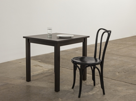 Jamie IsensteinTheater and be Theatered, 2015Table, oil lamp, glass, water, plate, chairDimensions variable