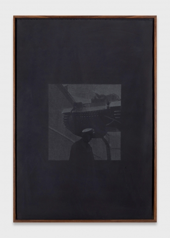 Dark framed painting of a barely discernible sailor figure.