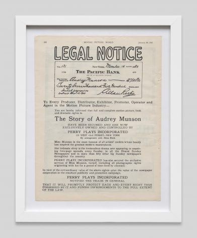 Legal notice of the sale to the rights of the story of Audrey Munson,Moving Picture World, January 29, 1921