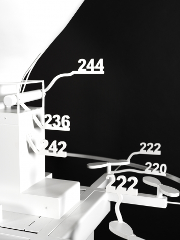 Simon Denny, Amazon delivery drone patent drawing as virtual Rio Tinto mineral globe