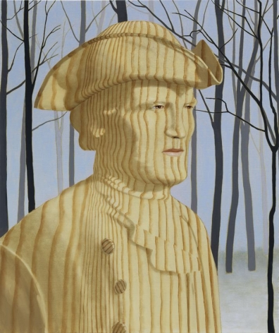 portrait of man in wood grain, a snowy forest is in the background.