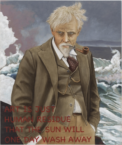 "Portrait of a man in front of an angry looking ocean. Waves splash in the background. The man is wearing a suit and looks a  little disheveled as the wind is blowing through his hair. he has a pipe in his mouth. In the lower left hand corner, painted in red is text that reads, ""Art is just human residue that the sun will one day wash away"""