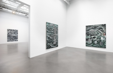 An installation image from Bleckner's show at Petzel Gallery in 2019. The shot features three large rectangular canvases.