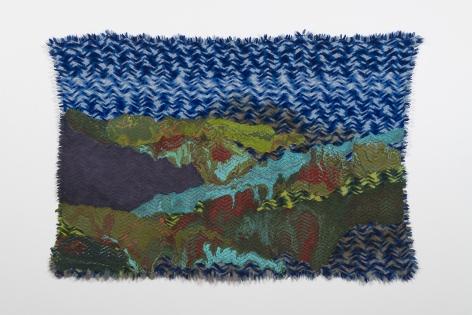 Rodney McMillian, Untitled (landscape on blue afghan)