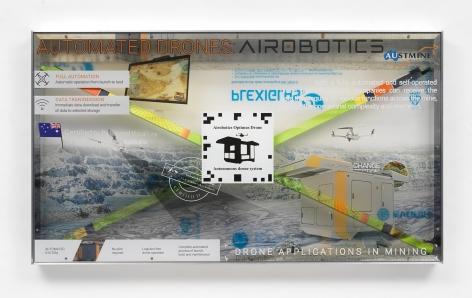 Simon Denny, Airobotics Optimus Autonomous drone and docking station promotion screen video token