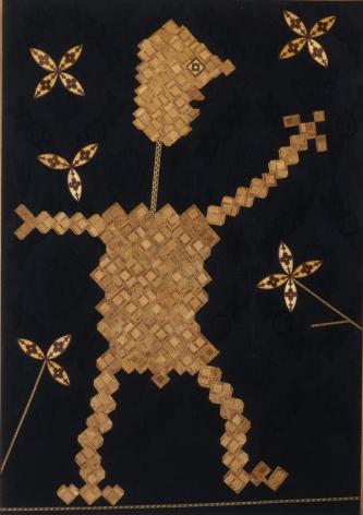 Personaggio 1961 Collage, wood inlay on fabric on wood