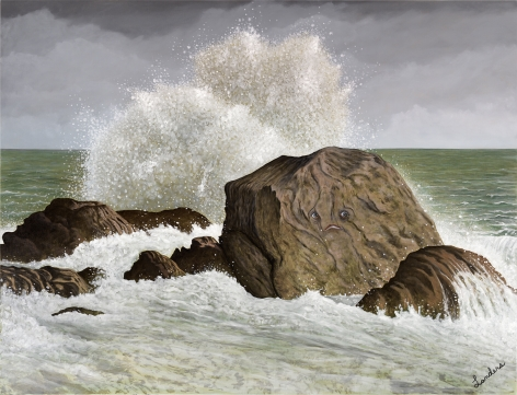 A painting of the ocean with large rocks at the center of the canvas. a wave breaks over the bigger rock. the bigger rock has a face painted on it.