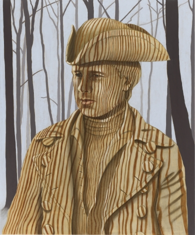Portrait of man in classic 3/4 portrait style. He is painted in a wood grain and the background is a forest.