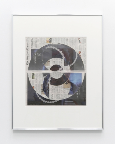 New York Times collage where the top layer of the front page is cut away in concentric circles to reveal a dark page with a jewelry advertisement underneath.