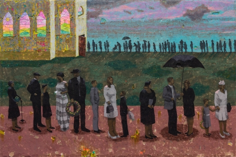 Derek Fordjour, Procession (After Ellis Wilson)
