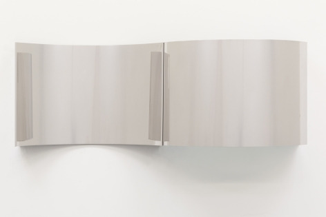 Concave steel surrogate in two panels. The first panel curves in and the second panel curves out.