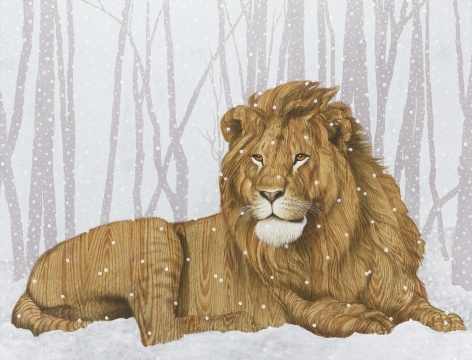 lion lounging in snow in a forest. instead of fur the lion is painted in a wood grain.