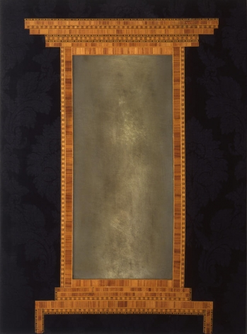 Consolle 1961 Collage, wood veneer, mirror, and fabric on wood