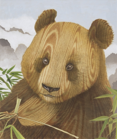 painting of a a panda surrounded by some bamboo, mountains are in the background. Instead of fur, the panda is painted in a wood grain.