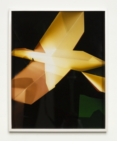 Framed color photographic paper piece with yellow and green on a dark black background.