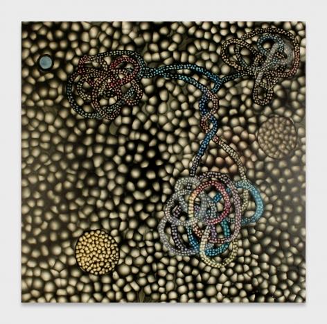 One of Ross Bleckner's cell paintings from 2000.