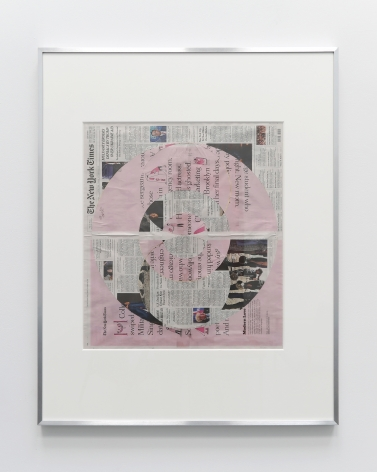 New York Times collage where the top layer of the front page is cut away in concentric circles to reveal a pink page underneath.
