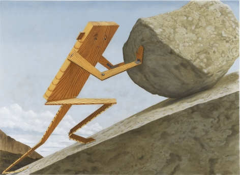 Horizontally oriented painting of Plank Boy painting  pushing a large rock up a steep rock incline.