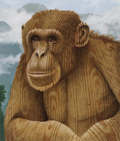 Portrait of a chimpanzee, instead of a fur it is painted in a wood grain.