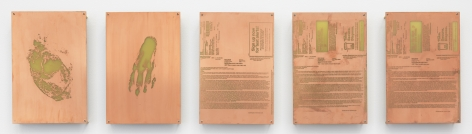 5 copper etched plates with varying marks and text.