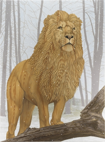 A lion standing in the forest with a fallen tree branch in front of it. Instead of fur, the lion is painted in a wood grain.